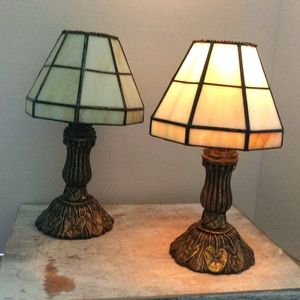 2 Candle holders With Stained Glass Styled Shades
